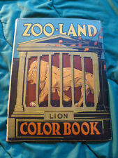 C 1920S ZOO-LAND CAGED ANIMAL UNUSED COLORING BOOK WTH CEVER UNIQUE DESIGN