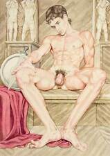 boy homme nu watercolor print nude male reluctant warrior Greek gay mythology