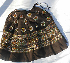 Take Two Clothing Co 100% Cotton Womens Brown Gold Floral Skirt Sequins L Large