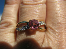 Pink Topaz Round Cut & Diamond Ring 10KT Solid Yellow Gold