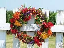 Colorful Silk Fall Wreath Gift New Home Grave Funeral Cemetery - Wall or Door