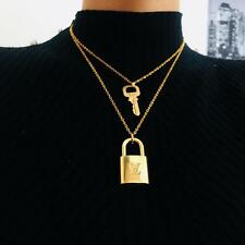 Louis Vuitton Padlock Necklace with Key Double Chain Double Layer Chains