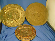 Veg Art Metal round plates 3 wall hangings brass country decor trays platters