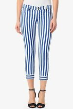 Hudson Anja Crop Super Skinny Jeans W Zip Sz 27 Vertical Sripe