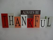 """Wooden Block Thanksgiving Thankful and reversible Christmas Believe 4"""""""