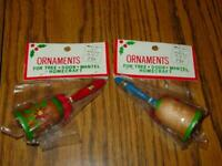 (2) VINTAGE Kmart Ornaments - Wood Hand Painted BELLS - Blue, Red, Green (SEALED