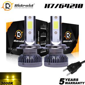 2x H7 High/Low Beam LED Headlights Conversion Kit Bulbs Mini 3000K Yellow 120W