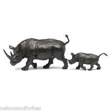 Solid Bronze Rhino Sculpture Rhinoceros Mother & Baby by Jonathan Sanders