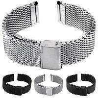 Milanaise Uhrarmband Edelstahl Mesh schwarz matt poliert Armband Uhr Ersatz Band
