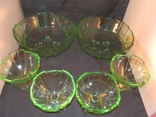 VINTAGE SOWERBY ART DECO GREEN GLASS X2 LARGE X4 SMALL DESSERT SUNDAE BOWL DISH