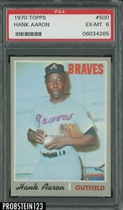 1970 Topps #500 Hank Aaron Atlanta Braves HOF PSA 6 EX-MT