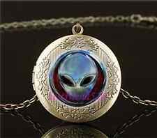 Vintage Metal Alien Head Photo Cabochon Glass Brass Locket Pendant Necklace