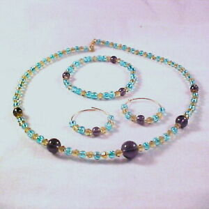 "Tri-color Sparkler, Aqua Crackle Glass, Yellow And Purple Crystals 16"" Choker"