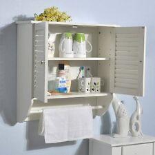 Bathroom Storage Cabinet White Finish Wall Mounted Towel Rail Shutter Door