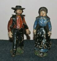 Vintage Cast Iron Amish Door Stops Man and Woman Couple Solid Figures 5 inch
