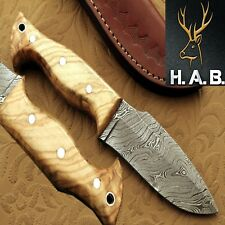 "HAB Custom Forged Full Tang 4.10""Fixed Blade Damascus steel Hunting Knife QN-404"