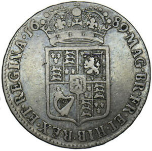 1689 William and Mary Inverted N in Regina Half Crown Very Rare R2 Bull 840