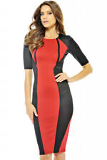 Red Panel Body Shaping Color block Midi Dress