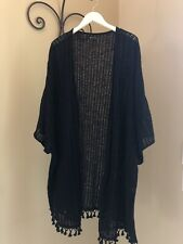 New Directions knit short sleeve cardigan with tassels Fits 3X-5X