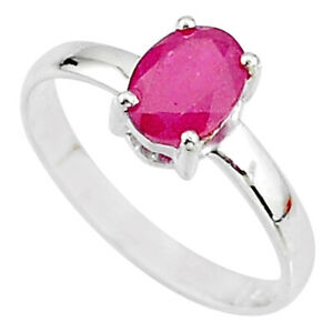 Halloween Sale 2.03cts Natural Red Ruby 925 Silver Solitaire Ring Size 7.5 T7297