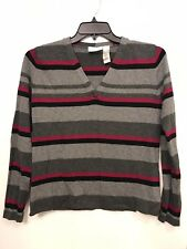 Liz Claiborne Lizwear Jeans Gray Black And Red Stripped Sweater Size Small