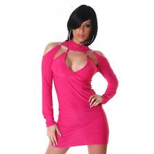 Sexy Clubwear mini noche de fiesta vestido de manga larga hombro libre cut out Pink onesize
