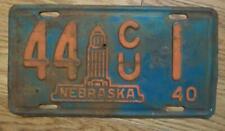 SINGLE NEBRASKA LICENSE PLATE - 1940 - 44 CU 1 - NEMAHA COUNTY