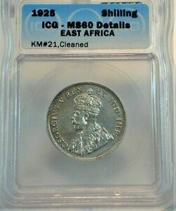 1925 East Africa Shilling ICG MS60 Details KM#21,cleaned  (476)