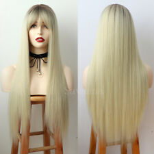 Ombre Brown Blonde Hair Synthetic Wigs Long Straight With Full Bangs Cosplay Wig