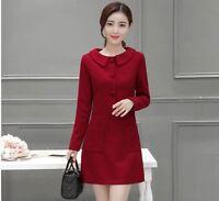 Women Ladies Korean Fashion Peter-Pan Collar Long Sleeve Sweet Wool Dress