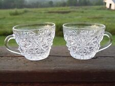 """2 Vintage Anchor Hocking """"Arlington"""" Clear Pattern Glass Punch Bowl Cups"""
