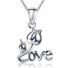 "925 Sterling Silver Rose Love Flower Pendant 18"" Chain Necklace Gift Box B10"
