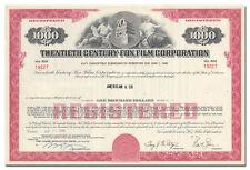 Twentieth Century-Fox Film Corporation Bond Certificate