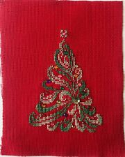 Finished completed cross stitch unframed Christmas Tree beaded