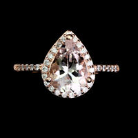 Unheated Pear Pink Morganite 10x7mm Cz Rose Gold Plate 925 Sterling Silver Ring
