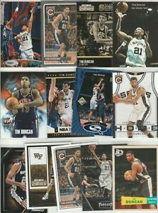 TIM DUNCAN LOT (13) DIFFERENT CARDS W/ 5 INSERTS SPORTS WEEKLY ROOKIE RC PROMO