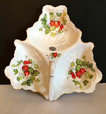 Queens Virgina Strawberry by Rosina Fine Bone China Handled 3 Section Dish   NWT