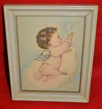 "Vintage Nursery Art Print ""Baby Angel Boy"" By Byj Charlot Framed 8"" x 9.5"""