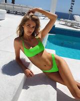 Beach Bathing Suit Sexy Neon Padded Bikini Set Women Swimwear Swimsuit Female