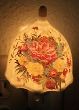 Mulitcolored Peony Flowers Porcelain Vintage Night Light Lamp Candle Gifts