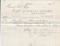 Moffat Robert Knight 1878 Bookseller and Stationer Advert Paid Invoice Ref 41402
