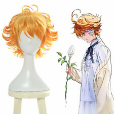 The Promised Neverland Emma Cosplay Wig Orange Ombre Hair Short Wavy Fluffy Wigs