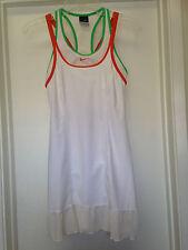 NIKE White Tennis Dress Green Orange Trim Mesh Ruffle Sz XS 0-2 EUC CUTE !!