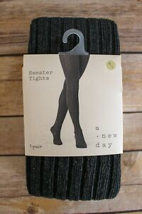 A New Day Ribbed Textured Footed Sweater Tights Medium/Large Charcoal Gray NEW
