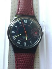 Wristwatch SWATCH Gent BARAJAS (GB416)-purple leather-with date-NEW/NOS-32/19
