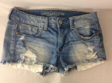 American Eagle Outfitters Jean Distressed Stretch Shorts Size 6 Lace Pockets