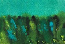 AQUA GREEN LANDSCAPE Original Gouache ACEO Painting 2.5x 3.5 Julia Garcia NEW