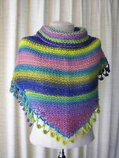 RAINBOW DREAM: Hand Knit Shawl Triangle Scarf 100% Soft Wool / Colorful Gift