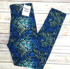 Extra PLUS Abstract Ornate Print Leggings Blue Black Aqua SOFT Curvy Sizes 16-24