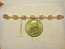 PINK 7 CZ Bolo Bracelet/5.40tcw./.925 STS & Stainless Steel/Adjustable to 9 in.